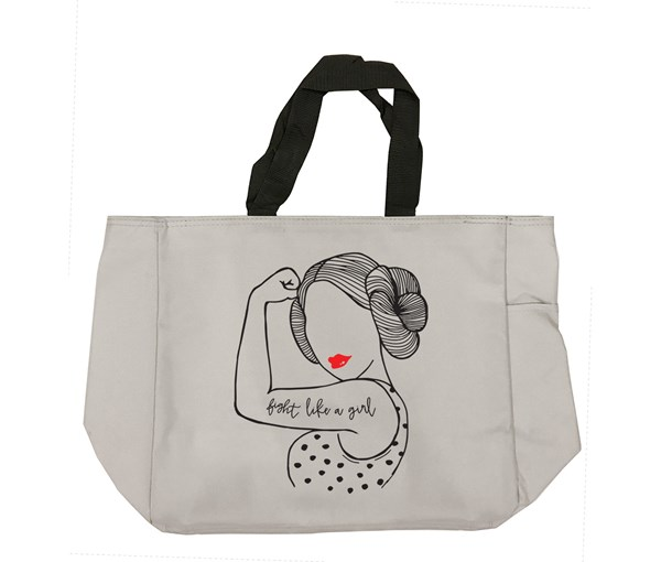 Fight Like a Girl Tote Bag (Grey)