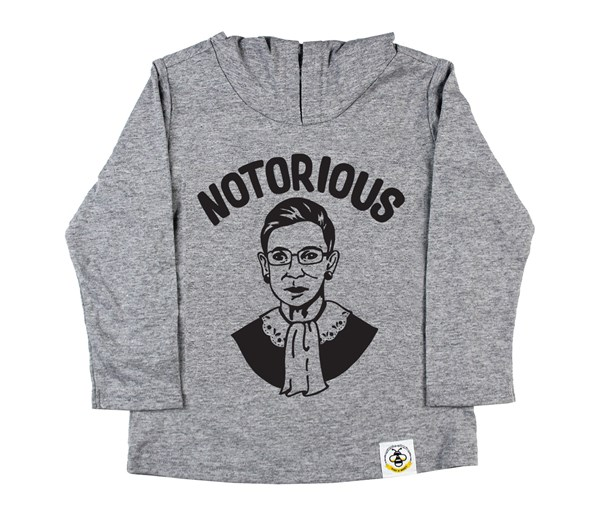 Notorious RBG Hooded Tee (Grey)