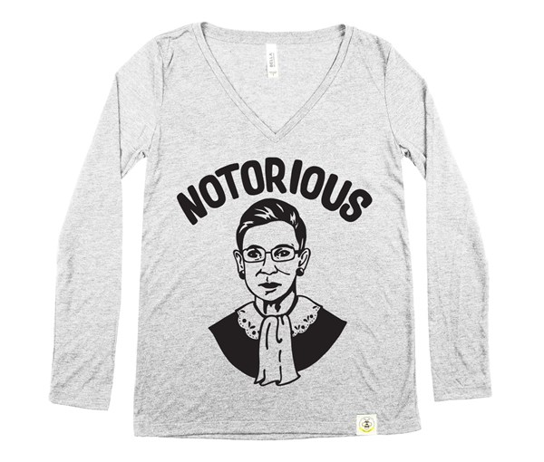 Notorious RBG Adult Long Sleeve V-Neck (Grey)