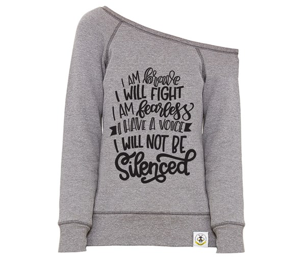 Not Silenced Women's Wide Neck Sweatshirt (Grey)