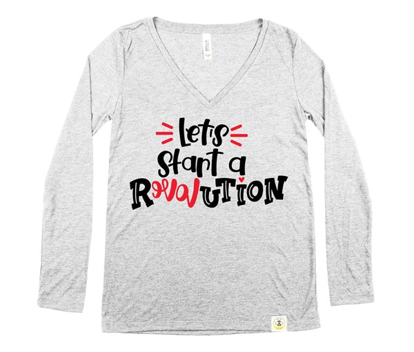Revolution Women's Long Sleeve V-Neck (Grey)