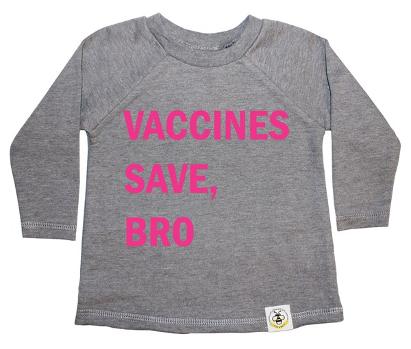Vaccines Save, Bro French Terry Long Sleeve (Grey, Pink)