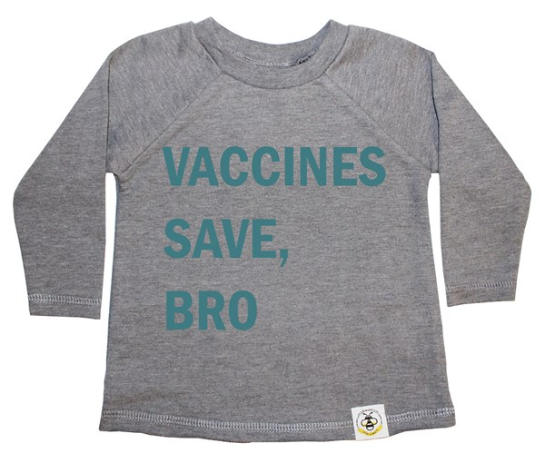 Vaccines Save, Bro French Terry Long Sleeve (Grey, Teal)