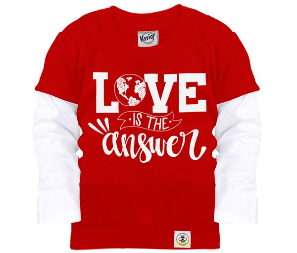 Love is the Answer Layered Tee (Red, White)