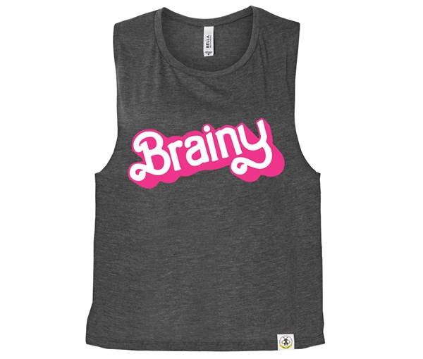 Brainy Women's Muscle Tank (Charcoal)