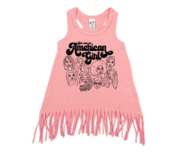American Girl Fringe Dress (Flamingo)