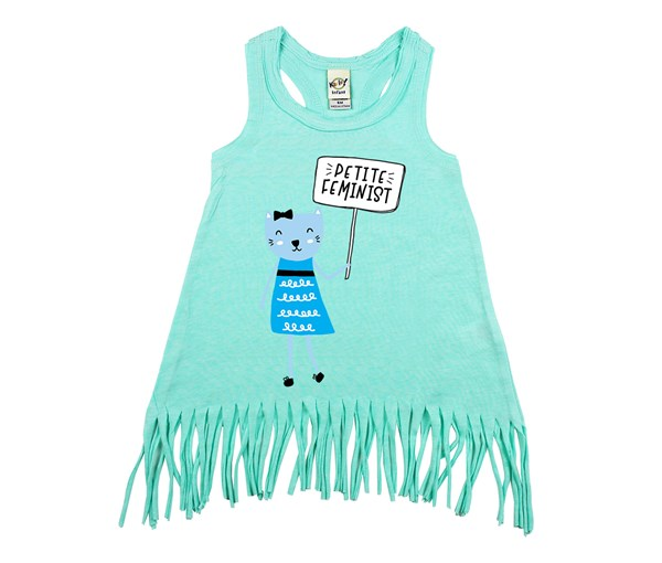 Petite Feminist Fringe Dress (Mint)