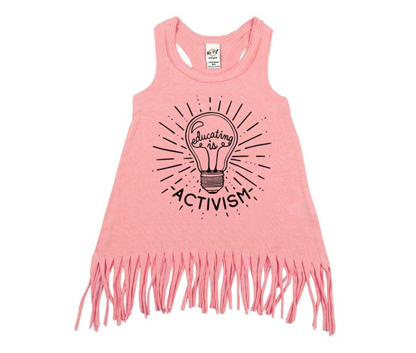 Educating Is Activism Fringe Dress (Flamingo)