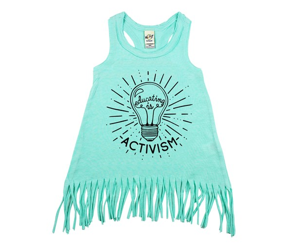 Educating Is Activism Fringe Dress (Mint)