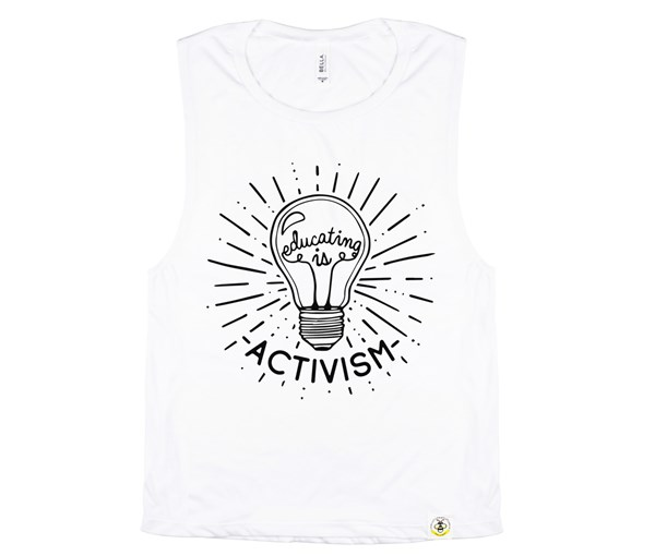 Educating Is Activism Adult Muscle Tank (White)