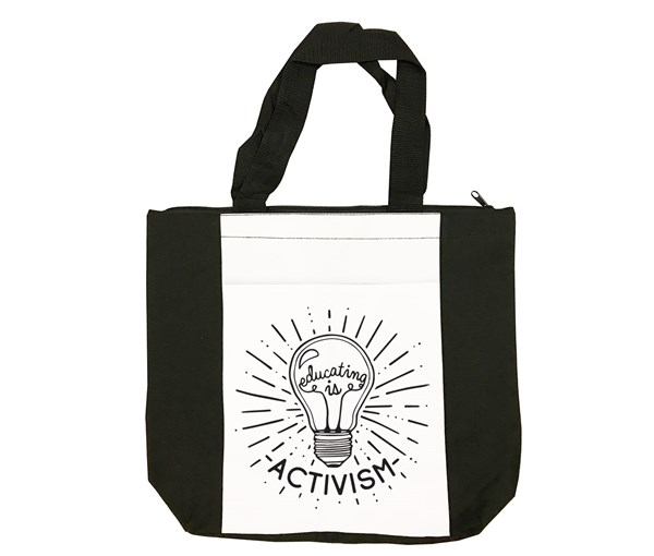 Educating Is Activism Tote Bag (Black/White)