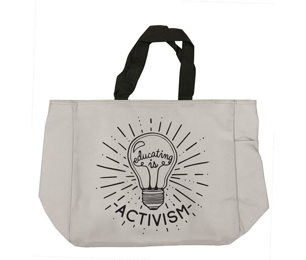 Educating Is Activism Tote Bag (Grey)