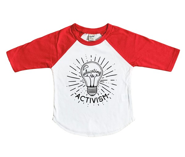 Educating is Activism Raglan (White/Red)