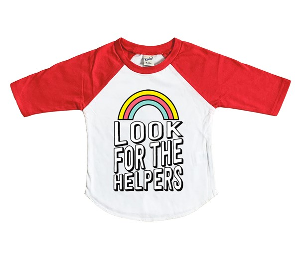 Look for the Helpers Raglan (White/Red)