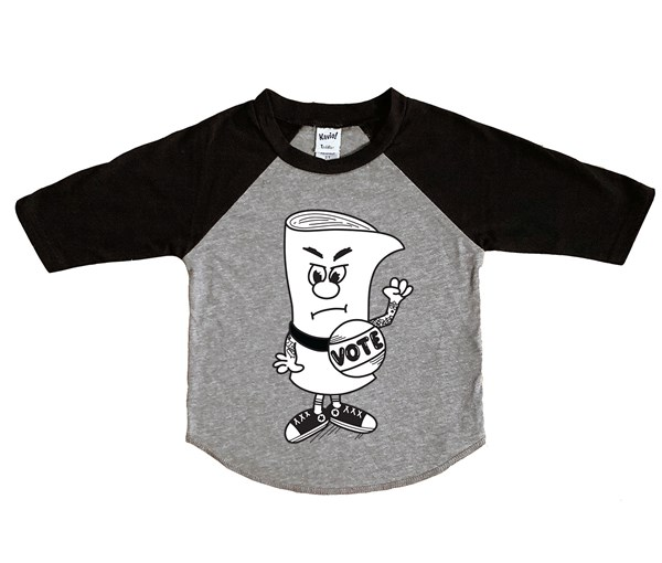 Schoolhouse Vote Raglan (Grey/Black)