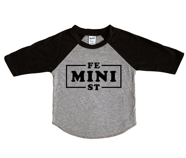 Mini Feminist Raglan (Grey/Black)