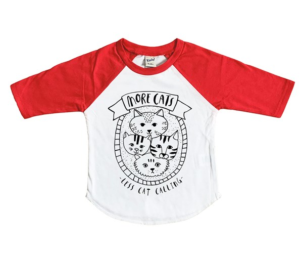 More Cats Raglan (White/Red)
