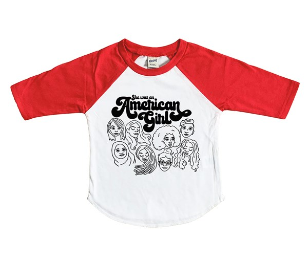 American Girl Raglan (White/Red)