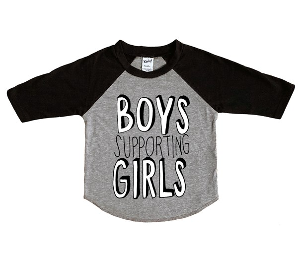 Boys Supporting Girls Raglan (Grey/Black)
