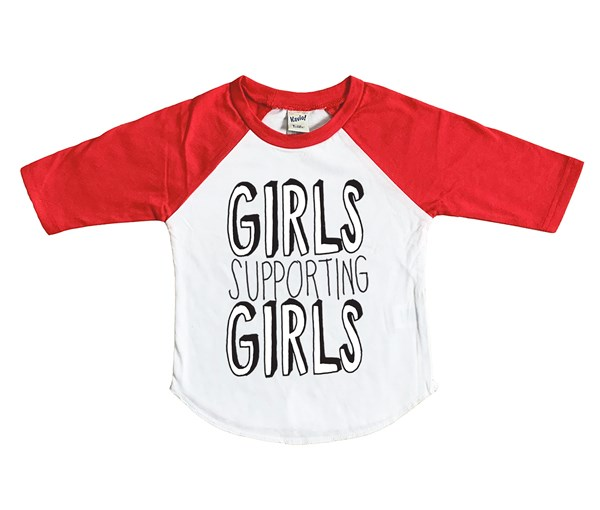 Girls Supporting Girls Raglan (White/Red)