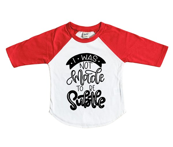 Not Subtle Raglan (White/Red)