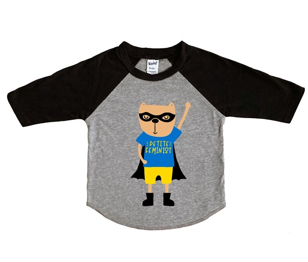 Petite Feminist Hero Raglan (Grey/Black)