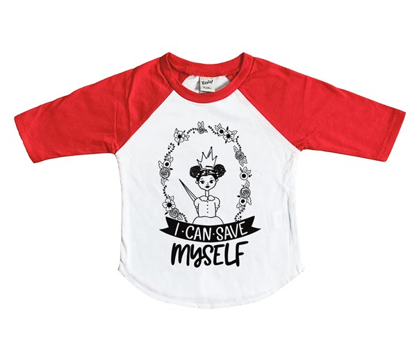 Save Myself Puffs Raglan (White/Red)