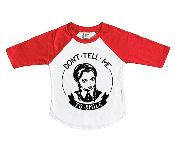 Don't Tell Me Raglan (White/Red)
