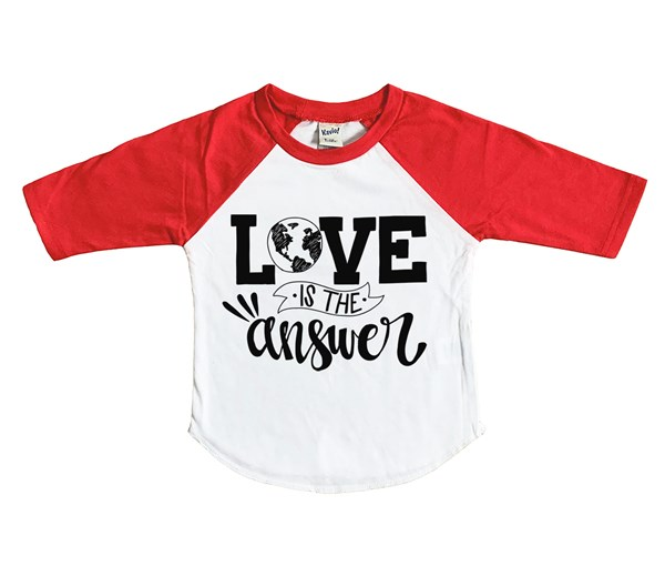 Love is the Answer Raglan (White/Red)