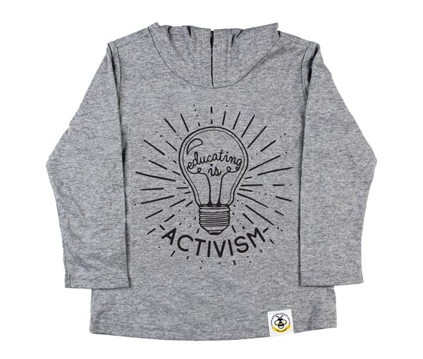 Educating is Activism Hooded Tee (Grey)