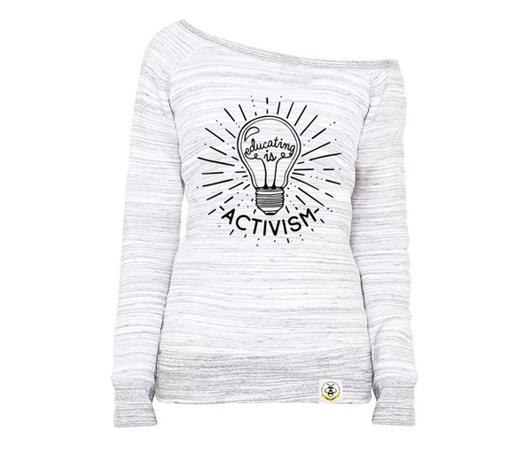 Educating is Activism Women's Wide Neck Sweatshirt (Marbled Grey)