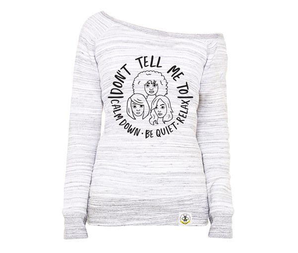 Calm Down Women's Wide Neck Sweatshirt (Marbled Grey)