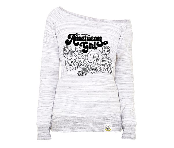 American Girl Women's Wide Neck Sweatshirt (Marbled Grey)