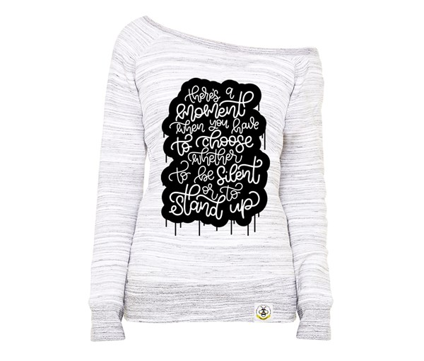 Stand Up Women's Wide Neck Sweatshirt (Marbled Grey)