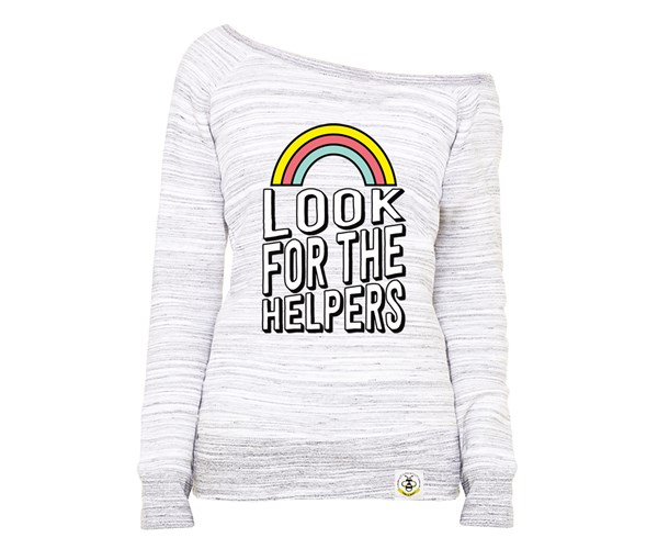 Look for the Helpers (Women's Wide Neck Sweatshirt)