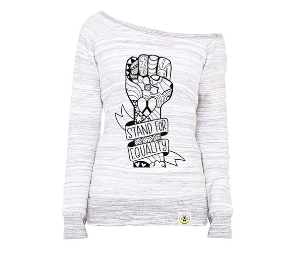 Equality Fist Women's Wide Neck Sweatshirt (Marbled Grey)
