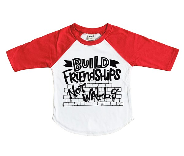 Build Friendships Raglan (White/Red)
