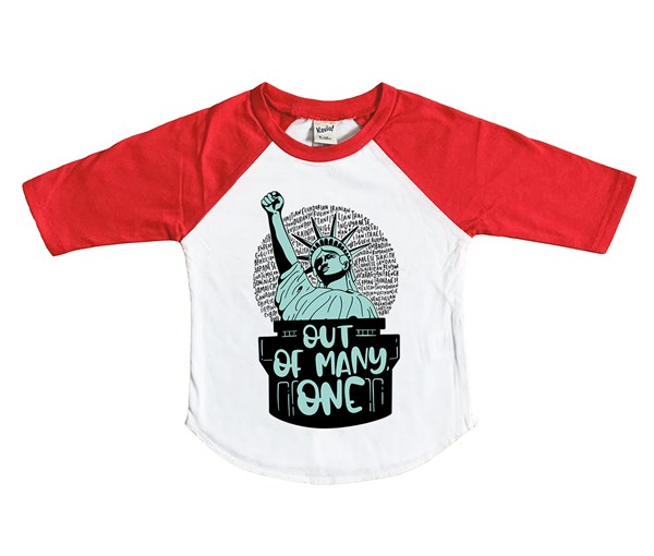 Out of Many, One Raglan (White/Red)