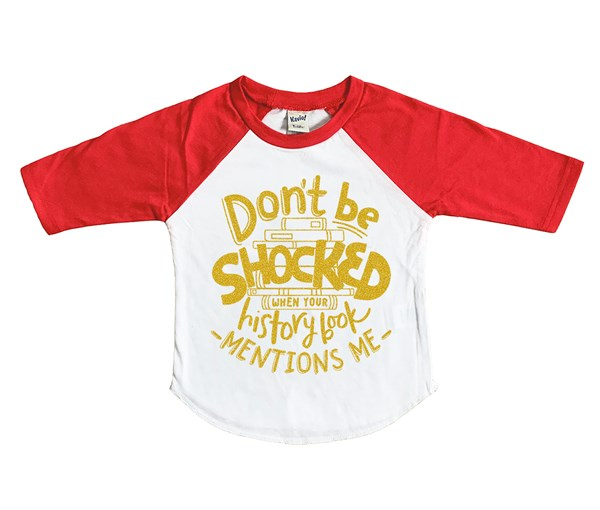 Don't Be Shocked Raglan (White/Red--Limited Edition Gold)