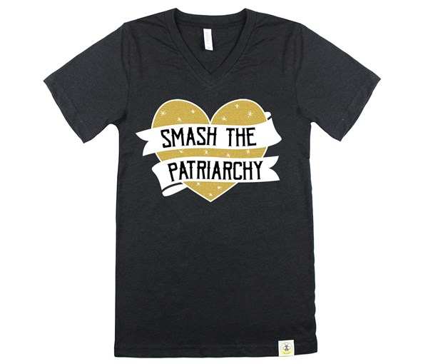 Smash the Patriarchy (Adult V-Neck, Limited Edition Gold)