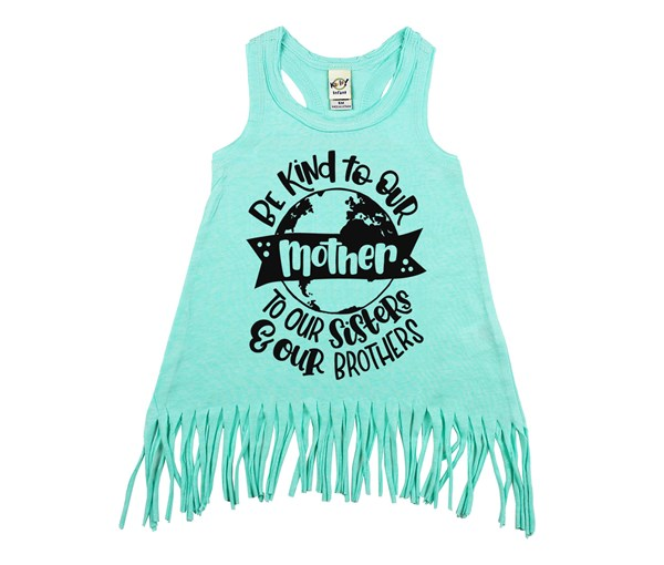 Love Your Mother Fringe Dress (Mint)