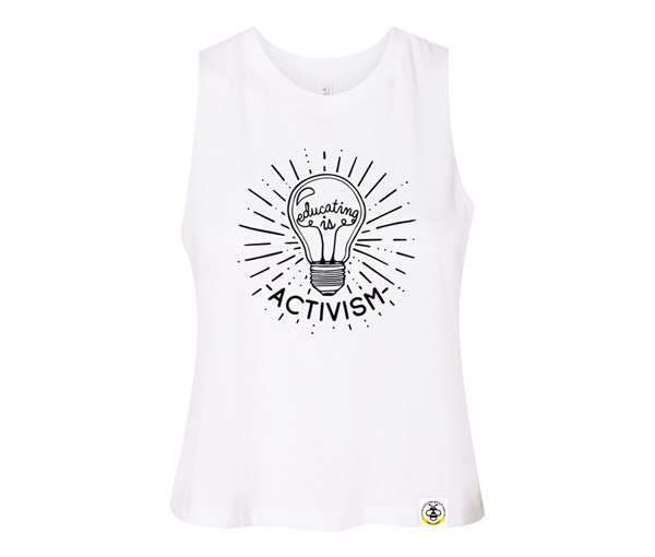 Educating is Activism Adult Racerback Cropped Tank