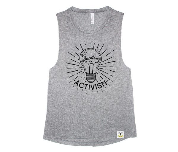Educating is Activism Adult Muscle Tank (Grey)