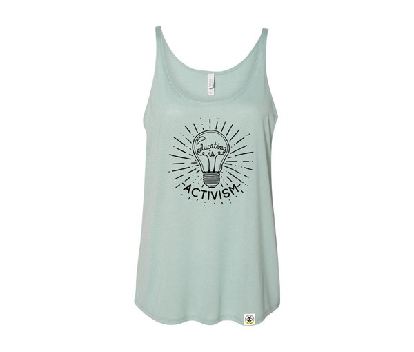 Educating is Activism Slouchy Tank (Dusty Blue)