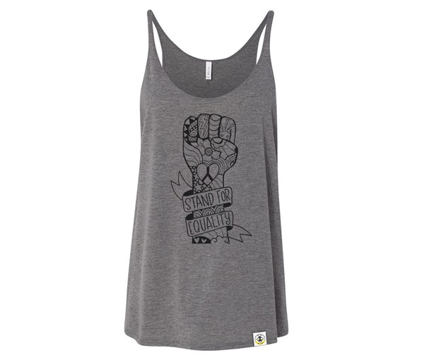 Equality Fist Adult Slouchy Tank (Grey)