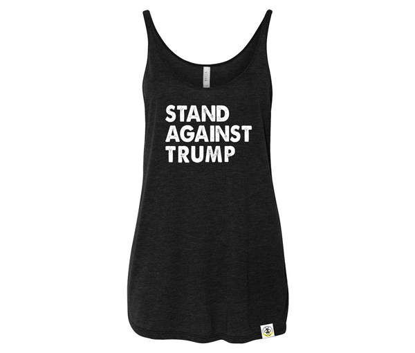 Stand Against Trump Adult Slouchy Tank (Black)