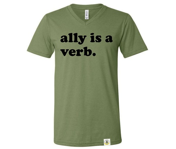 Ally is a Verb V-Neck Adult (Military Green)