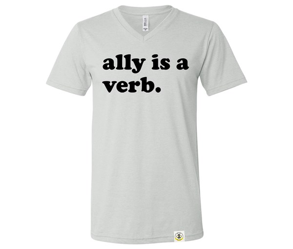 Ally is a Verb V-Neck Adult (Silver)
