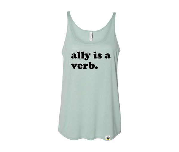 Ally is a Verb Adult Slouchy Tank (Dusty Blue)