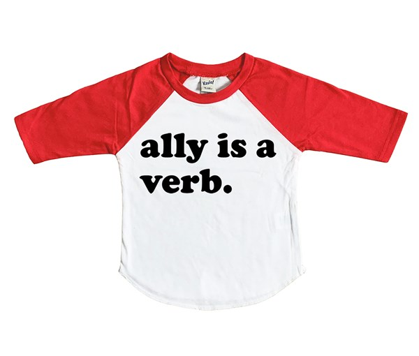 Ally is a Verb Raglan (White/Red)